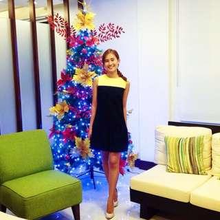 Jessica Red Black & Yellow Sleeveless Flounce Dress