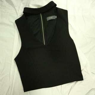 Black Crop with Neck Detail Size M