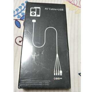 Ipad 1 and iphone4 AV Cable + USB