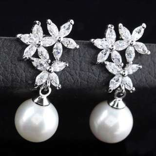 PEARL EARRINGS WITH AAA CZ STONES