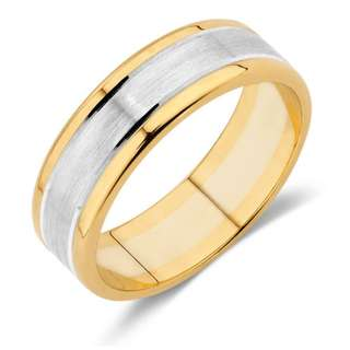 Michael Hill Men's Wedding Band in 10ct Yellow & White Gold