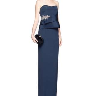 Brand New Authentic Marchesa Notte Navy Crystal Embellished Peplum Gown US 4