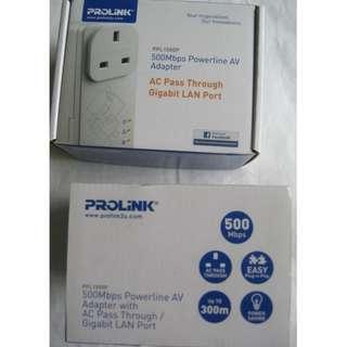 Prolink PPL1500P Homeplug pair . 500Mbps specs Gigabit Lan port . with AC Pass Thru