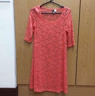 H&M Orange Lace Dress (See-Through)