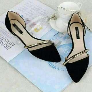 Flatshoes list silky hitam