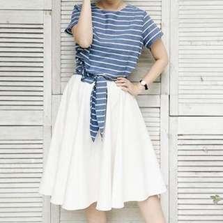 Blue Bow Stripe Top