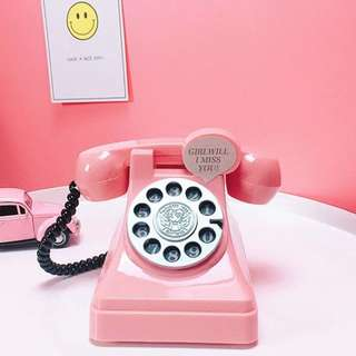 粉紅復古 電話造型 存錢筒 ☀️
