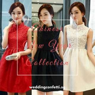 <Chinese New Year Collection> *Brand New* Red / Black / White Sleeveless Mandarin Collar / Cheongsam Dress