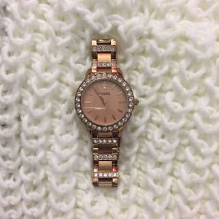 Rose Gold Diamond Fossil Watch