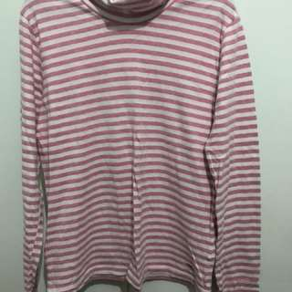 Pink striped turtle neck pullover
