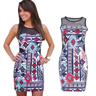 Full print vintage design dress