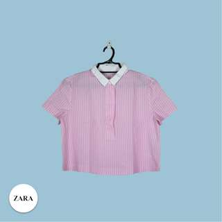 Zara Pink cropped polo