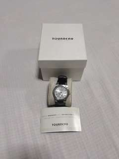 #tourneau watch with genuine leather strap