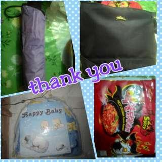 magic umbrella, samyang, LongChamp sling bag, baby net bed