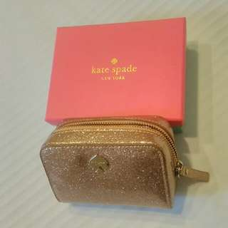 kate spade rose gold glitter coin purse