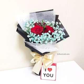 Valentine's Day ❤ Three Roses Bouquet
