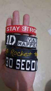 Wristband 1D, The Wanted, Cody Simpson, A Rocket to the Moon, 30 Seconds to Mars, 1D
