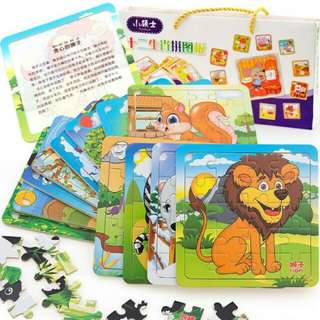 12 IN 1 WOODEN TRAY PUZZLE SET