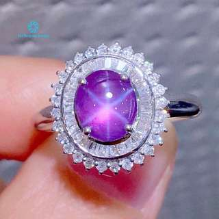 18K 白金 天然無燒 星光藍寶石 足反鑽石戒指