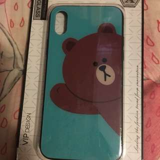 全新iPhone x Brown 彩繪玻璃面case