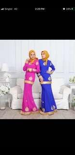 BN size m royal blue kurung