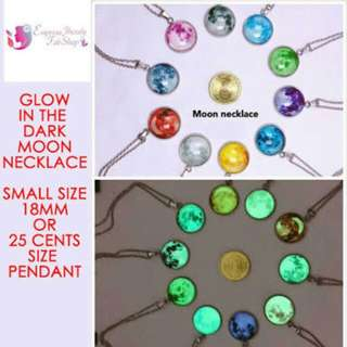 Glow in the dark- Moon necklace