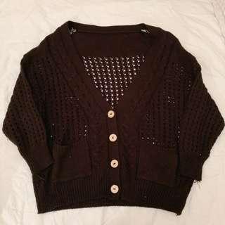 🚚 黑色 性感洞洞針織毛衣外套
