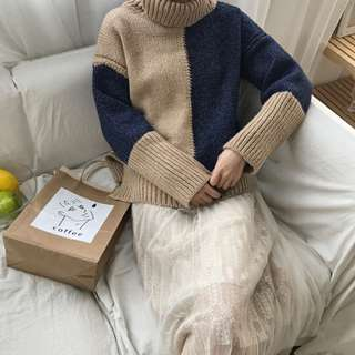 🌸(包郵) 韓版拼色高領針織衫 H1051
