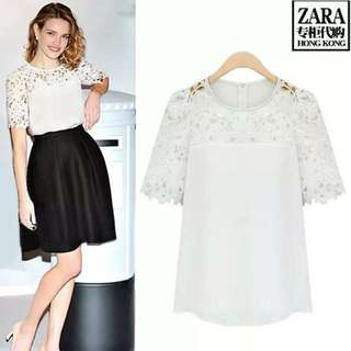 Embroidered Lace Combined Top