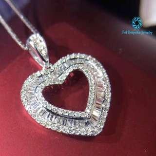 18K 白金 T型鑽石項鍊