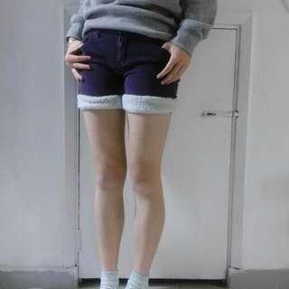 紫色 秋冬 短褲 Shorts