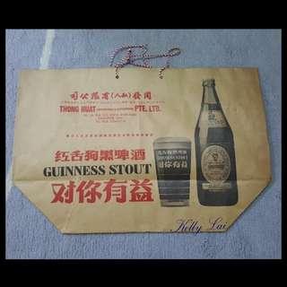 Vintage Guinness Stout Bottle & Glass Brown Paper Bag
