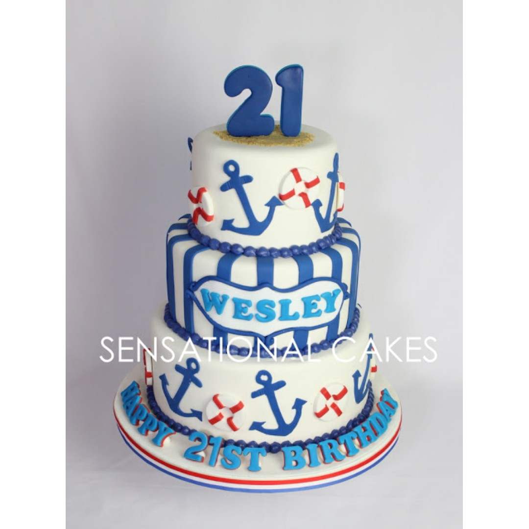 Peachy 21St Birthday Cake Nautical Theme Anchor Float Theme 3D Customise Personalised Birthday Cards Veneteletsinfo