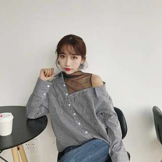 🆕 Ready Stock Korean Style Long Sleeve Shirt with Fishnet Mesh Details