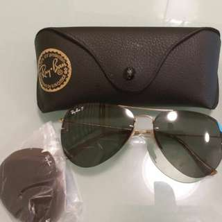 Original rayban RB 3460 with free extra lens g-15 lens gold frame