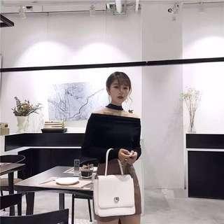🆕 Ready Stock Black Collar Top Long Sleeve
