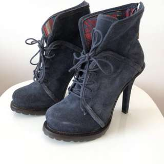 Elizabeth & James Blue Suede High Heel Booties / US Size 6