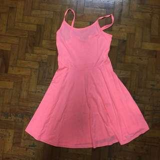 Neon Orange Pink Dress