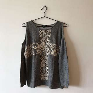 Gray Shoulder Cut-out Sweater REPRICED