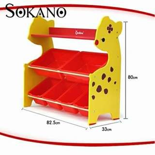 SOKANO ONSHINE Kids Premium 3 Tiers Toy Organizer with 6 Colourful Storage Bins- Giraffe
