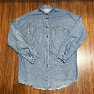 刷色牛仔寬鬆長版口袋襯衫