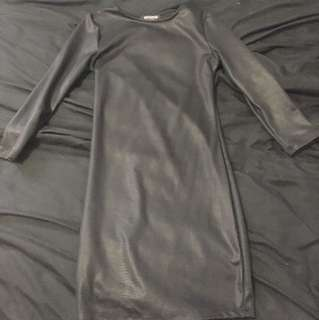 Revamped faux leather dress