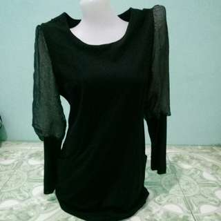 Black Long Top with Lace Sleeves