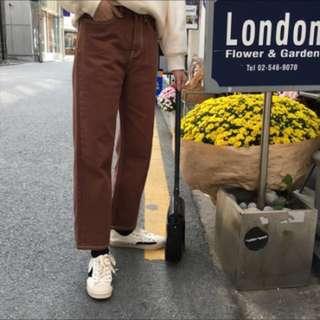 巧克力🍫布朗色 牛仔直筒寬褲