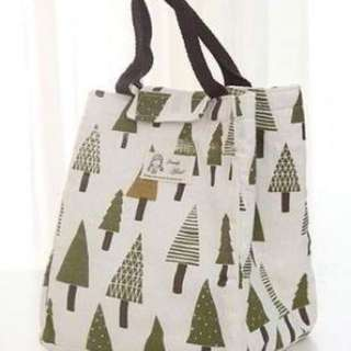 Tree Pattern Lunch Bag Green+white