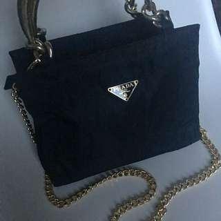 罕有 Prada Gold Chain Bag Backpack