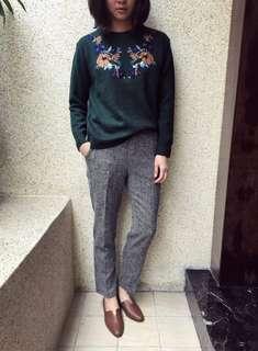 🚚 過年買新衣 # 正韓轉賣 @ 繡花針織毛衣 #耶誕綠