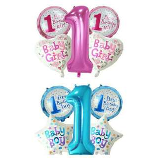 5 pieces Baby 1st Birthday Balloons Girls and Boys