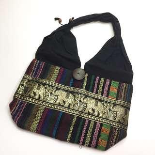 [小手袋][包平郵]泰國民族風黑色象紋布質小手袋