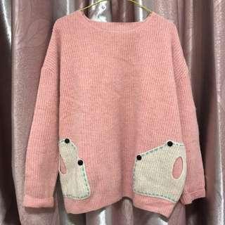 韓國兔毛粉紅拼布有袋上衫